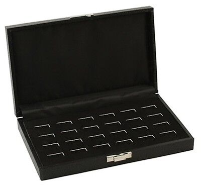 1 Wholesale Black Leatherette 24 Ring Display Portable Sales Storage Box Case