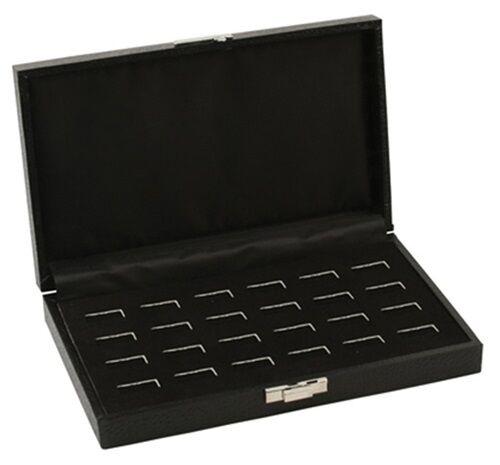 1 Wholesale Black Leatherette 24 Ring Display Portable Sales Storage Box Case