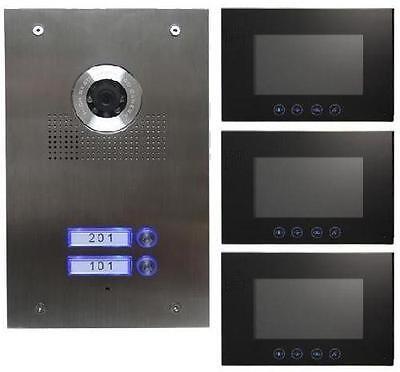 2-Familienhaus Video Türsprechanlage Gegensprechanlage mit 3 X 7 '' Monitor