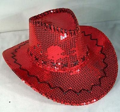 SEQUIN RED COWBOY HAT party supply hats dance supplies Sparkle cowgirl women - Red Sequin Hat