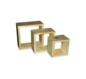 Natural Wood Wooden Wall Cubes Cube Shelf Shelves Set Of 3