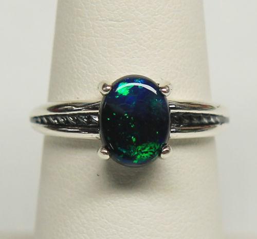 Australian Black Opal Ring On Ebay