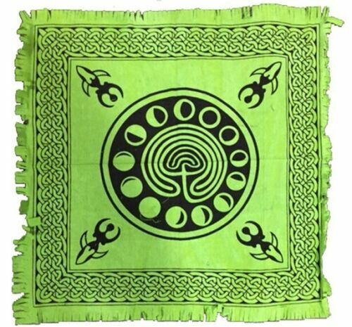 """Celtic Earth with Moon Phase Altar Cloth 18"""" x 18"""" LIGHT GREEN NEW GODDESS"""