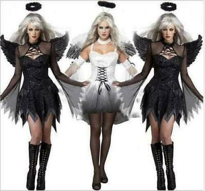 Ladies Black/White Dark Fallen Angel Cosplay Costume Halloween Women Dress New