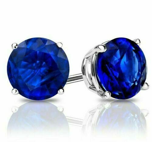 .925 Sterling Silver 2 ctw Cut Blue Sapphire Round Stud Earrings 6MM