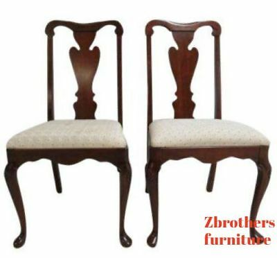 Pair Pennsylvania House Solid Cherry Chippendale Dining Room Side Desk Chairs  C