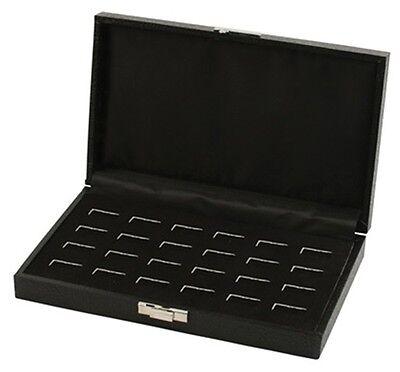 12 Pair Grained Leatherette Black Cufflinks Mens Jewelry Display Organizer Case Displays Black Leatherette