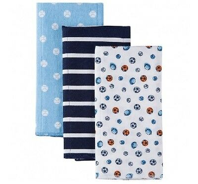 Gerber Baby Boy 3-Pack Blue Sports Flannel Burp Cloths; BABY CLOTHES SHOWER GIFT](Sports Baby Shower)