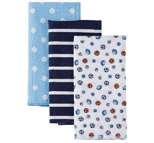 Gerber Baby Boy 3-Pack Blue Sports Flannel Burp Cloths; BABY