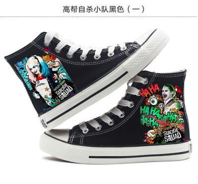 Harley Quinn And Joker Costumes (New Suicide Squad The Joker Harley Quinn Men and women High top canvas)