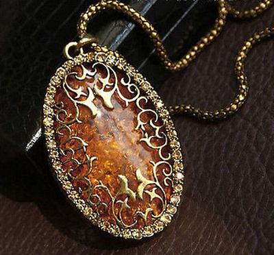 NEW Women Jewelry Oval Amber Hollow Rhinestone Long Chain Pendant Necklace