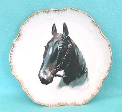 Vintage Japan Collector Plate featuring Black Horse - and Bonus Plate!