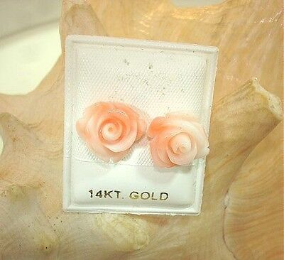 (11MM 10.52CTS CARVED PACIFIC PINK CORAL ROSE FLOWER 14K GOLD POST STUD EARRINGS)