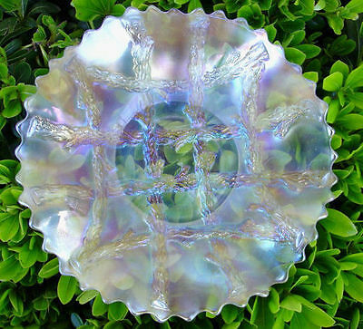 "c1911""DUGAN""WHITE""~ANTIQUE""CARNIVAL GLASS""GRAPEVINE LATTICE""RFLD~7""PLATE""MINT"