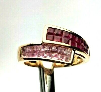 1.40 ct Princess Ruby & Pink Sapphire 14K Rose Gold Crossover Band Ring  ()