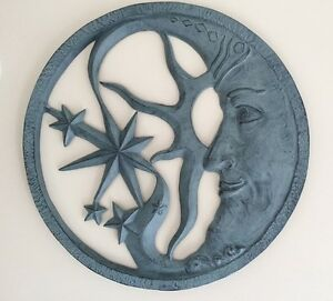 sun moon stars celestial face wall decor metal outdoor plaque sunburst. Black Bedroom Furniture Sets. Home Design Ideas