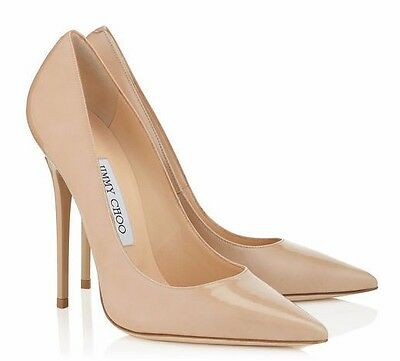 NIB Jimmy Choo Anouk Nude Patent Leather Point Toe Pumps Heels 6 36