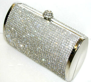 Silver~CRYSTAL ~ Gorgeous Bridal / Evening Crystal Clutch Box ☆Free shipping ☆