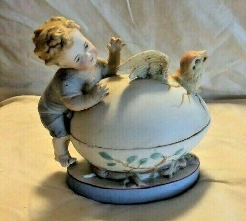 Victorian Bisque Box Figural Child w Hatching Bird C1900