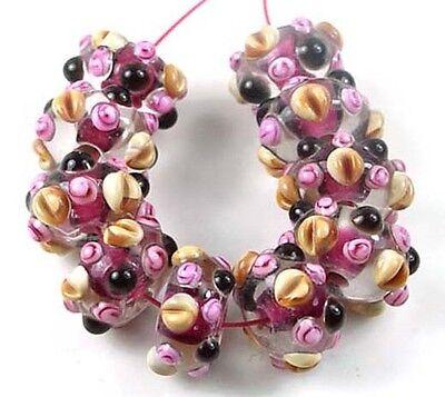 - 10 LAMPWORK Handmade Glass Rondelle beads -Wild Berry