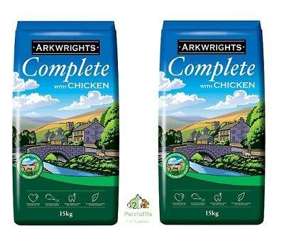 2x 15KG BAGS ARKWRIGHTS CHICKEN COMPLETE DRY DOG FOOD BISCUITS BULK BUY 30KG