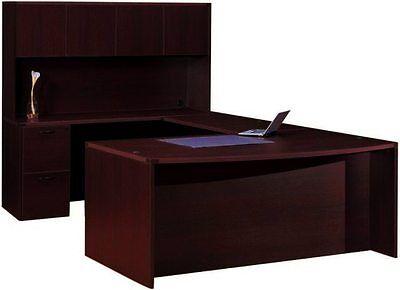 Cherryman Amber Bowfront U-shape Executive Office Desk With Hutch 2 Pedestals