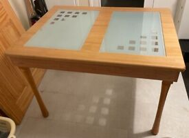 Wood and glass Kitchen or dinning table