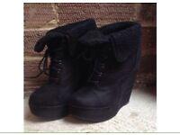 Black wedge heels size 5