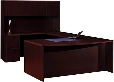 Cherryman Amber Bowfront U-shape Executive Office Desk With Hutch 2 Pedestals