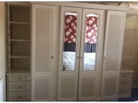 MFI Wardrobe with Mirrored Doors - shelves and chestnut drawers white/cream large