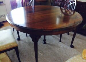 "Antique Solid Walnut 54"" Round Table. $575.00"