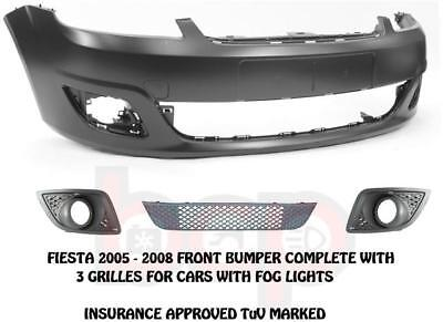 FORD FIESTA MK6 102005 2008 FRONT BUMPER KIT WITH GRILLES FOG TYPE NOT ST