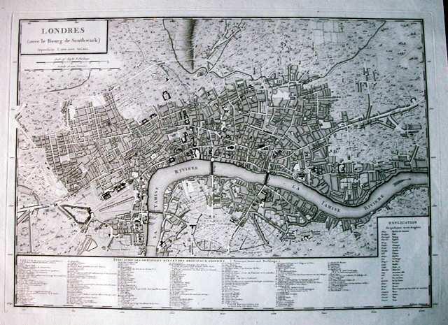 Antique map, Londres