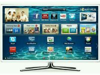 """White Samsung 40"""" LED smart 3D wifi tv.built USB MEDIA PLAYER HD FREEVIEW and freesat Screen"""