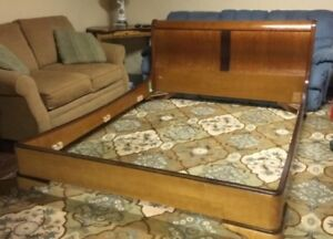 Vintage Art Deco Queen Bed Frame Made in France