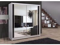 ❤Black White & Walnut Finish❤ Brand New Chicago Full Mirror 2 Door Sliding Wardrobe w Shelves, rails