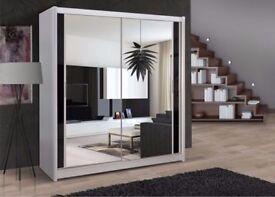 🔥💖💥Superb Black Walnut & White ❤New Full Mirror 2 Door Berlin Sliding Wardrobe w Shelves, Hanging