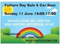FATHERS DAY SALE & CAR BOOT SUNDAY 11 JUNE 2-5PM NASH MILLS VILLAGE HALL, HEMEL, HP3 8RT