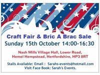 Craft Fair & Bric a Brac Sale Sunday 15th October INDOOR SALE