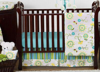 (Discount Boutique Luxury Blue Green Flower Bumperless Baby Crib Bedding Set Girl)