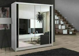 🔴LOWEST PRICE IN UK🔵BERLIN 2&3 SLIDING DOORS WARDROBE IN 5 SIZES & IN MULTI COLORS-CALL NOW