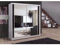 BRAND NEW Exquisite Full Mirrored Chicago Sliding Door Wardrobe - SAME DAY! BLACK OAK WALNUT WHITE