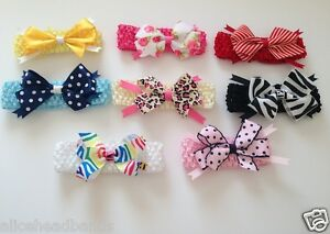 Animal-Print-Polka-Dot-Handmade-Baby-Girl-Headbands-Crochet-Elastic-Band-Lot
