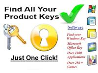 Product Key License Finder for Windows XP/Vista/7/8/8.1/10 Recovery PC