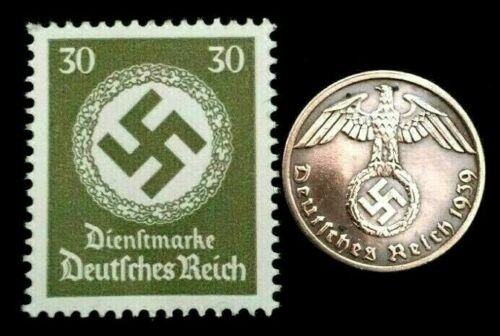 Rare Old WWII German War Coin One Reichspfennig & Stamps World War 2 Artifacts