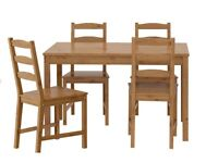 Table, 4 chairs (antique stain) and 4 red seat cushions