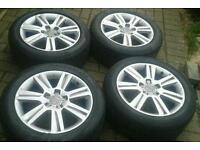 Genuine audi a4 s4 17 alloy wheels 5 x 112 golf caddy van etc good tyres