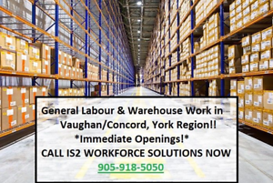 20+ Warehouse Work Openings in Vaughan/Brampton/GTA