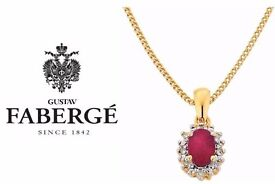 Tiffany necklace special edition made by Fabergé. Gold, diamond & ruby. Includes high value receipt