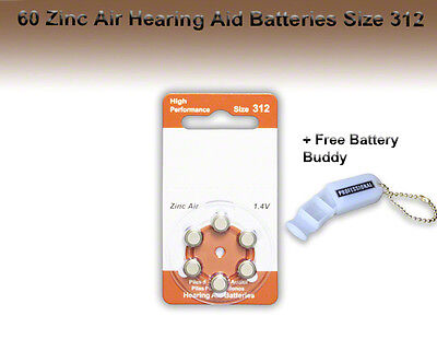 Zinc Air Hearing Aid Batteries, Size 312, 60 Pcs + Free Battery Buddy